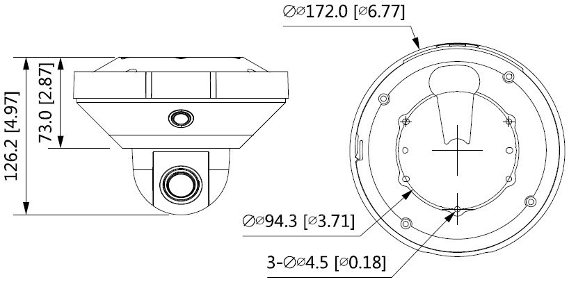 大华600万全景红外三目不拼接枪球一体网络摄像机DH-PSDW8638S-B360尺寸图