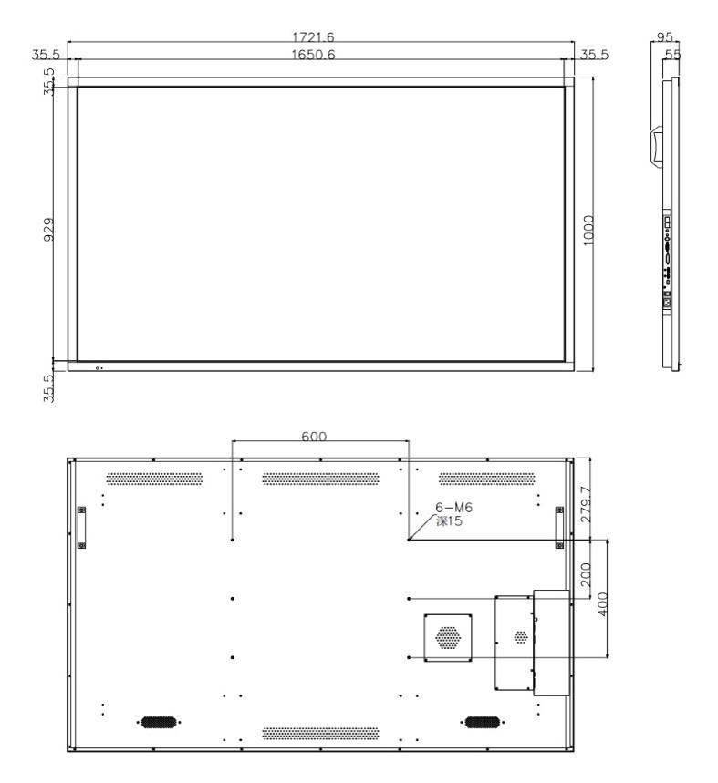 大华监视器DH-LM75-S400尺寸